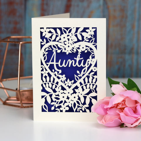 Papercut Aunt, Aunty or Auntie Card - A5 (large) / Infra Violet / Aunty