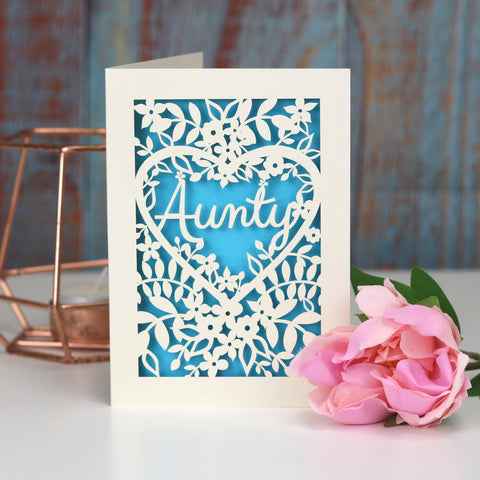 Papercut Aunt, Aunty or Auntie Card - A5 (large) / Peacock Blue / Aunty