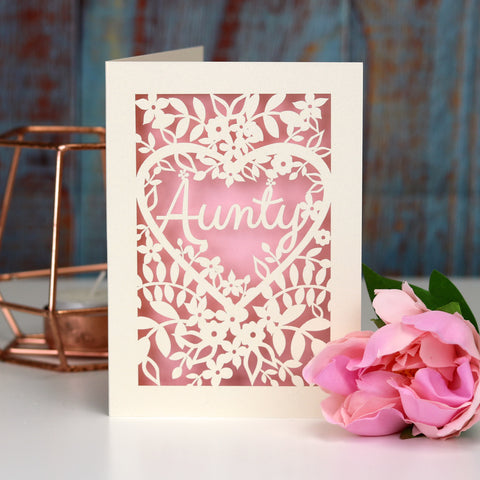 Papercut Aunt, Aunty or Auntie Card - A5 (large) / Candy Pink / Aunty