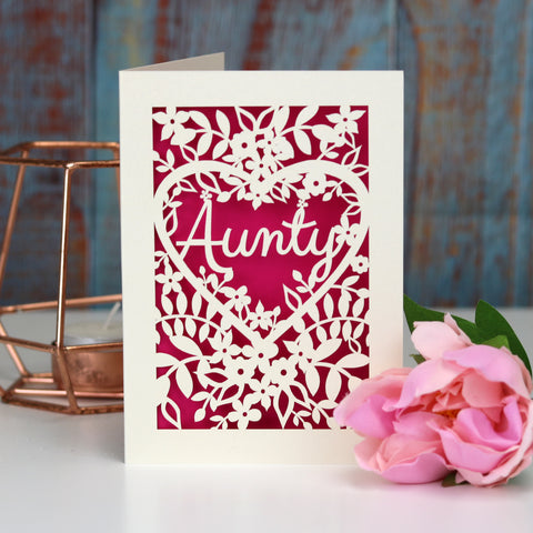 Papercut Aunt, Aunty or Auntie Card - A5 (large) / Shocking Pink / Aunty