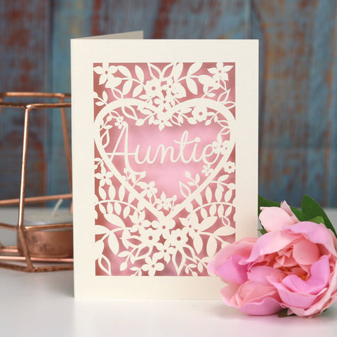 Papercut Aunt, Aunty or Auntie Card - A5 (large) / Candy Pink / Auntie
