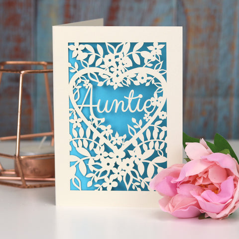 Papercut Aunt, Aunty or Auntie Card - A5 (large) / Peacock Blue / Auntie