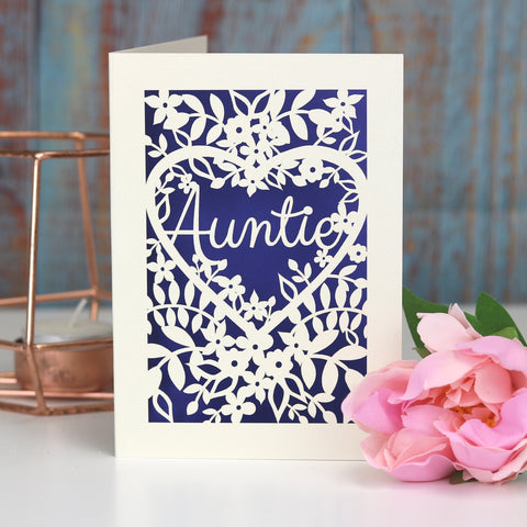 Papercut Aunt, Aunty or Auntie Card - A5 (large) / Infra Violet / Auntie