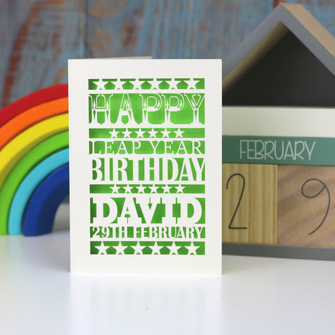 Leap Year Birthday Personalised Papercut Card - A5 (large) / Bright Green