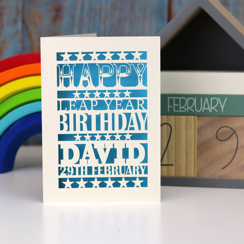 Leap Year Birthday Personalised Papercut Card - A5 (large) / Peacock Blue
