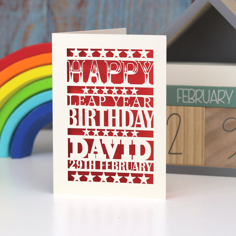 Leap Year Birthday Personalised Papercut Card - A5 (large) / Bright Red