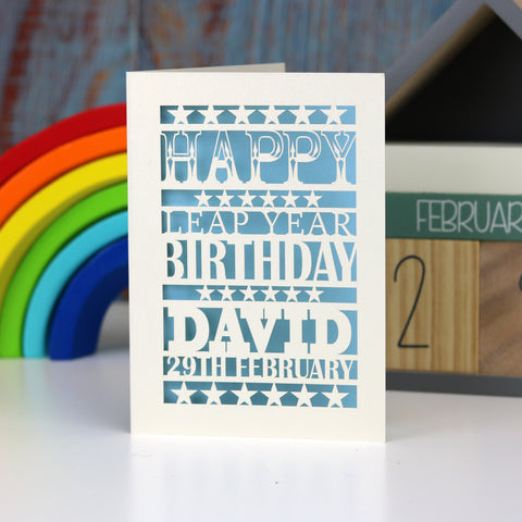 Leap Year Birthday Personalised Papercut Card - A5 (large) / Light blue