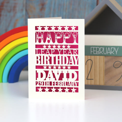 Leap Year Birthday Personalised Papercut Card - A5 (large) / Shocking Pink