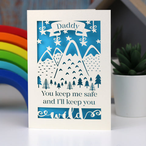 Safe And Wild Father's Day Personalised Card - A5 (large) / Peacock Blue