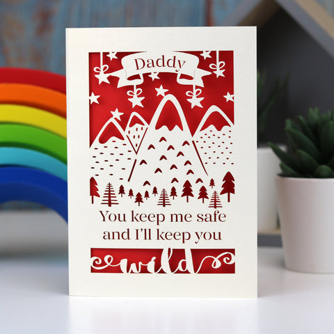 Safe And Wild Father's Day Personalised Card - A5 (large) / Bright Red
