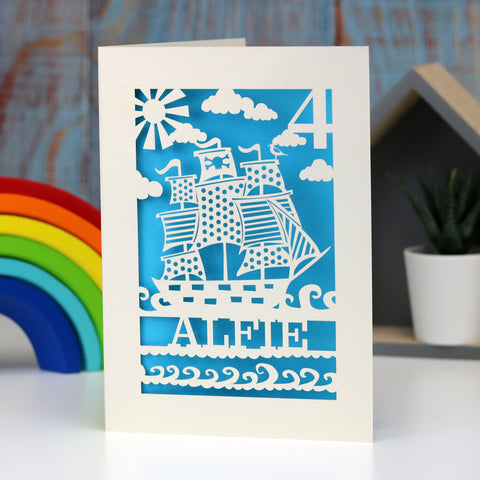 Personalised Papercut Pirate Birthday Card