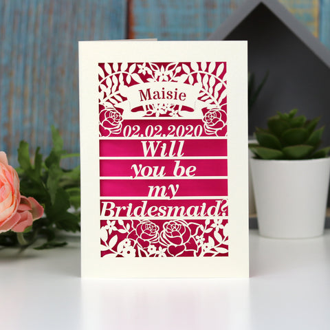 Personalised Papercut Be My Bridesmaid Card - A5 (large) / Shocking Pink / Be My Bridesmaid