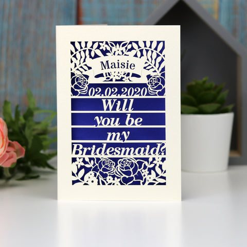 Personalised Papercut Be My Bridesmaid Card - A5 (large) / Infra Violet / Be My Bridesmaid