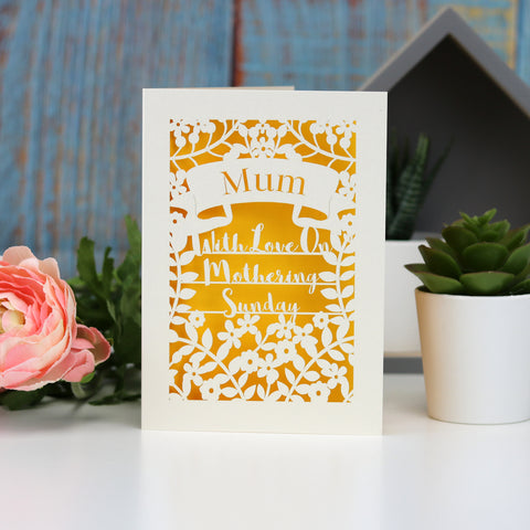 Personalised Papercut Mothering Sunday Card - A5 (large) / Sunshine Yellow