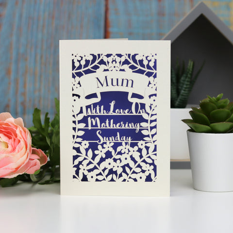 Personalised Papercut Mothering Sunday Card