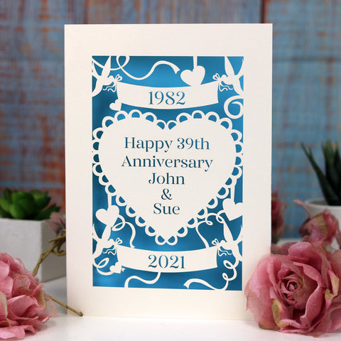 Personalised Papercut Anniversary Card - A6 (small) / Cream/peacock blue