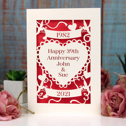 Personalised Papercut Anniversary Card - A6 (small) / Cream/Bright Red