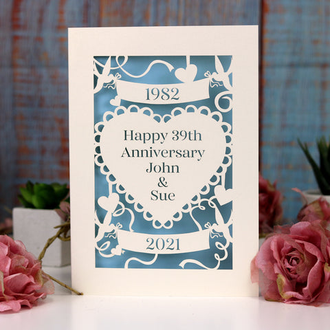 Personalised Papercut Anniversary Card - A6 (small) / Cream/Light Blue