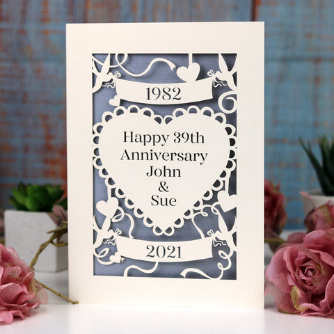 Personalised Papercut Anniversary Card - A6 (small) / Cream/Silver