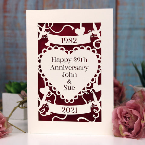 Personalised Papercut Anniversary Card - A6 (small) / Cream/dark red