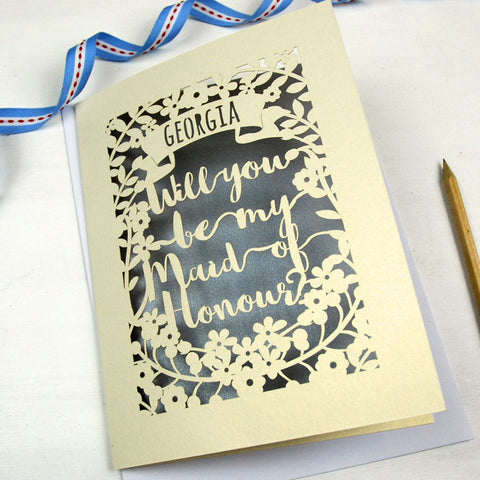 Personalised Maid of Honour Card - A5 / Cream / Silver