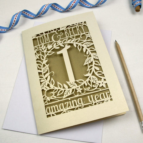 Personalised Flower Anniversary Card - A5 / Gold Leaf