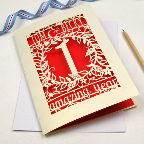 Personalised Flower Anniversary Card - A6 / Bright Red