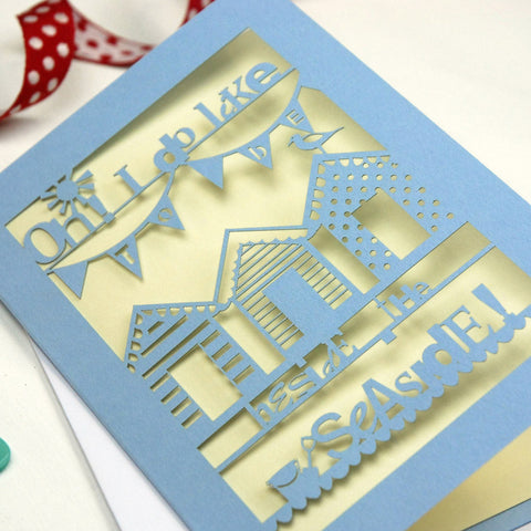 Beside The Seaside Laser Cut Greetings Card - A6 / Azure Blue / Cream