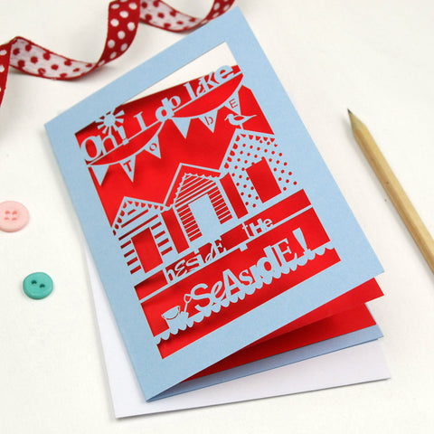 Beside The Seaside Laser Cut Greetings Card - A6 / Azure Blue / Bright Red