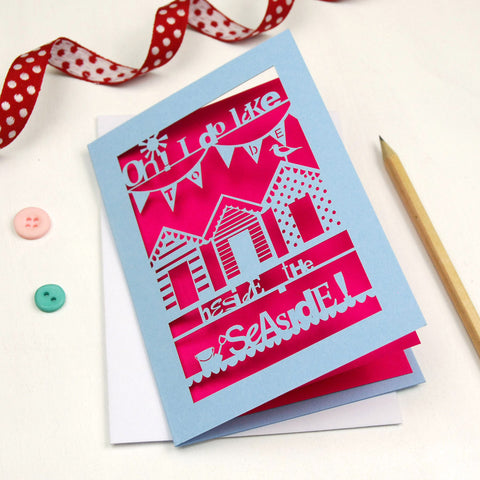 Beside The Seaside Laser Cut Greetings Card - A6 / Azure Blue / Shocking Pink