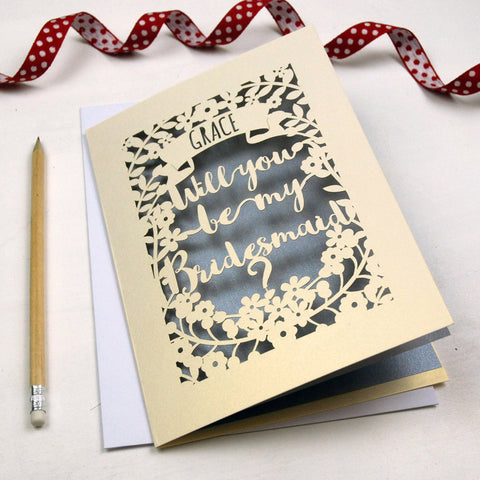 Personalised Papercut Bridesmaid Card - A5 / Cream / Silver