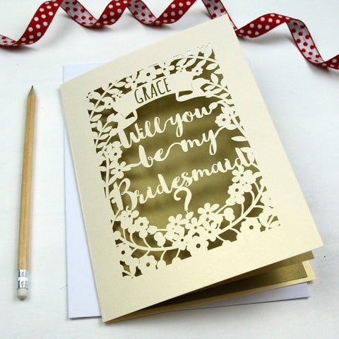 Personalised Papercut Bridesmaid Card - A5 / Cream / Gold Leaf