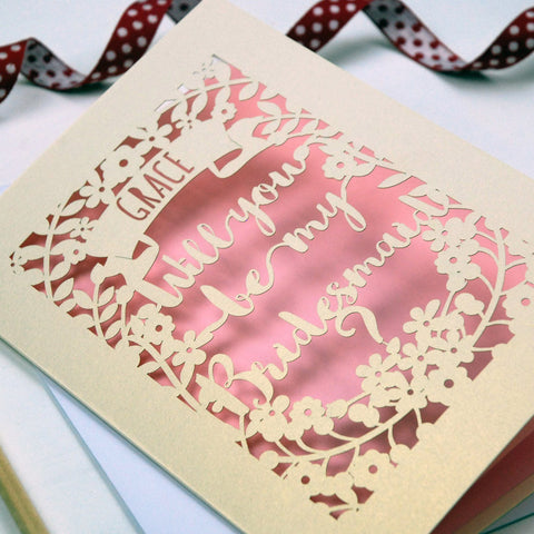 Personalised Papercut Bridesmaid Card - A5 / Cream / Candy Pink