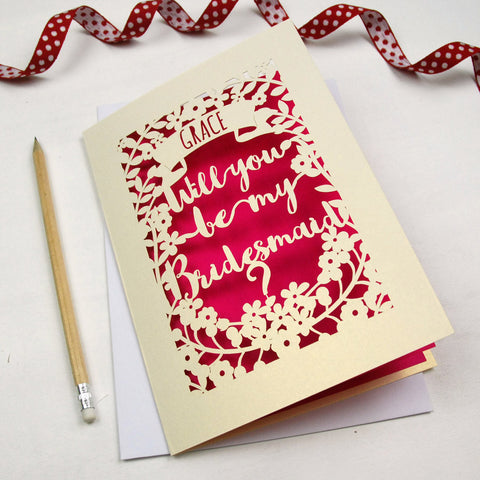 Personalised Papercut Bridesmaid Card - A5 / Cream / Shocking Pink
