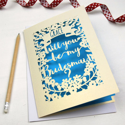 Personalised Papercut Bridesmaid Card - A5 / Cream / Peacock Blue