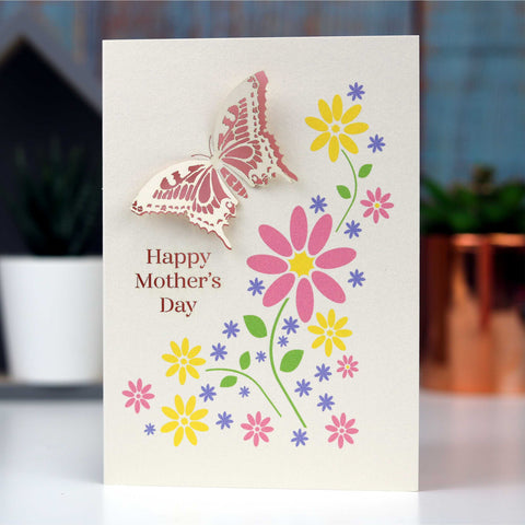 Mother's Day Papercut And Printed Butterfly Card - A5 (Large) / Candy Pink
