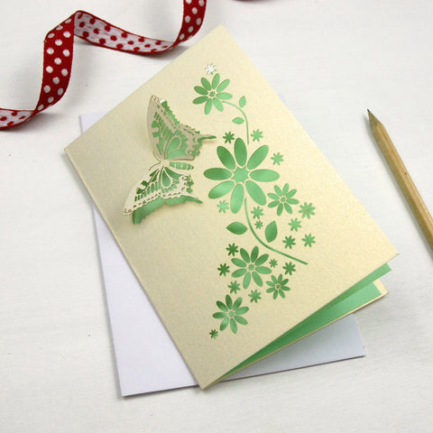 Laser Cut Butterfly Card - A6 / Cream / Light Green