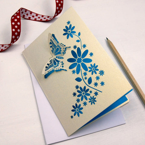 Laser Cut Butterfly Card - A6 / Cream / Peacock Blue
