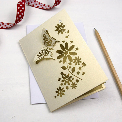 Laser Cut Butterfly Card - A6 / Cream / Gold Leaf