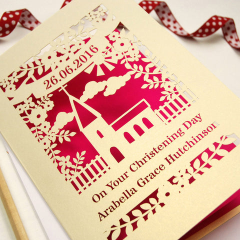 Personalised Papercut Floral Christening Card - A6 / Cream / Shocking Pink