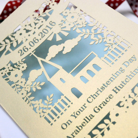 Personalised Papercut Floral Christening Card - A5 / Cream / Baby Blue