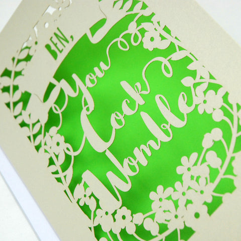 Personalised 'You Cock Womble' Papercut Card - A5 / Cream / Bright Green