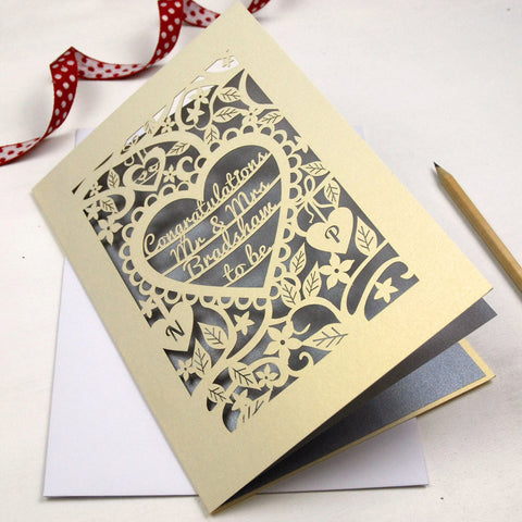 Personalised Papercut Heart Engagement Card - A5 / Cream / Silver