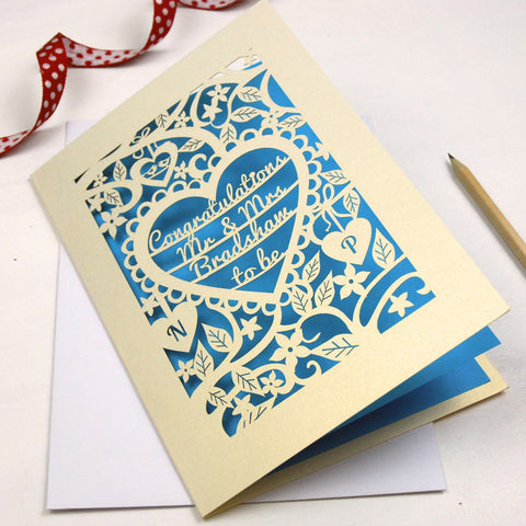Personalised Papercut Heart Engagement Card - A5 / Cream / Peacock Blue