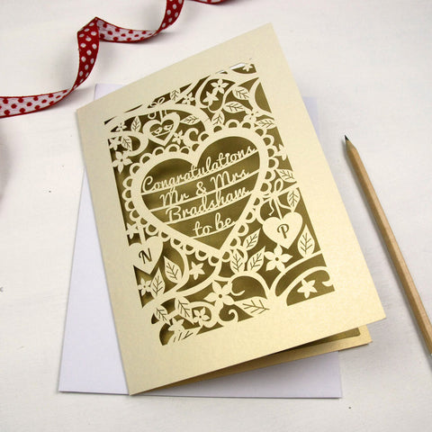 Personalised Papercut Heart Engagement Card - A5 / Cream / Gold Leaf