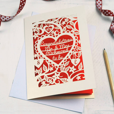 Personalised Papercut Heart Engagement Card - A5 / Cream / Bright Red