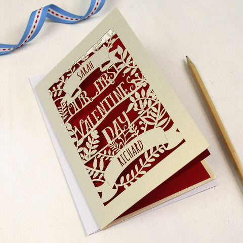 Personalised Papercut First Valentine's Card - A5 / Cream / Dark Red
