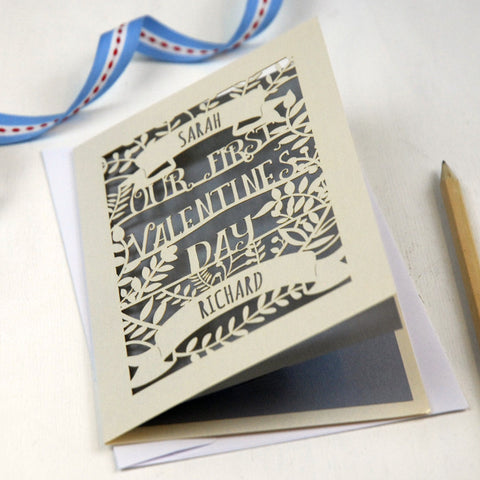 Personalised Papercut First Valentine's Card - A5 / Cream / Silver