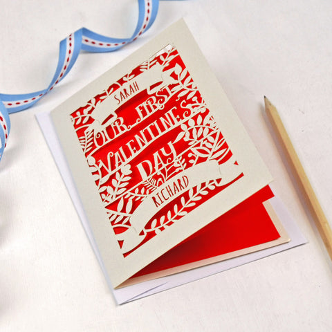 Personalised Papercut First Valentine's Card - A5 / Cream / Bright Red