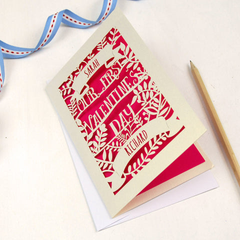Personalised Papercut First Valentine's Card - A5 / Cream / Shocking Pink